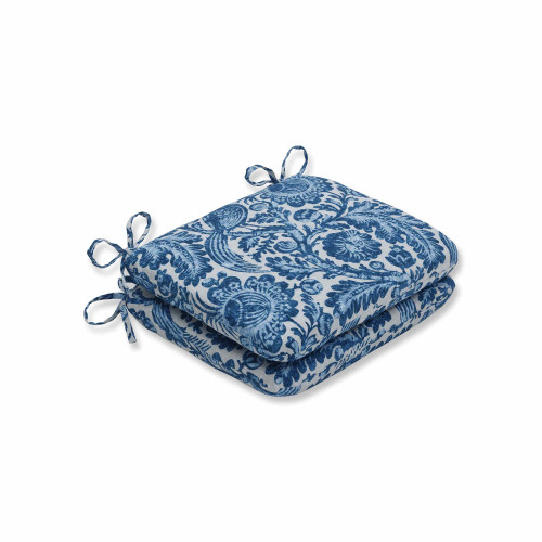 "Set of 2 Blue and White Rounded Corners Seat Cushions 18.5"" - IMAGE 1"