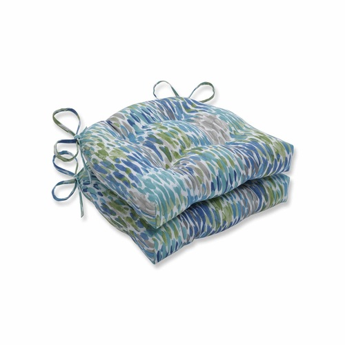 """Set of 2 Blue and White Contemporary Reversible Chair Pads 16"""" - IMAGE 1"""