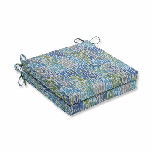 "Set of 2 Blue and White Contemporary Squared Corners Seat Cushions 20"" - IMAGE 1"