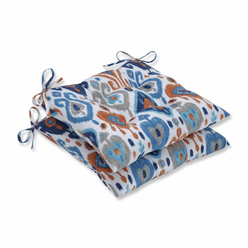 "Set of 2 Vibrantly Colored Ikat Pattern Seat Cushions 19"" - IMAGE 1"