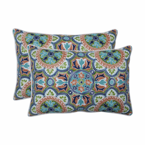 "Set of 2 Blue and Green Damask Pattern Rectangular Throw Pillows 24.5"" - IMAGE 1"