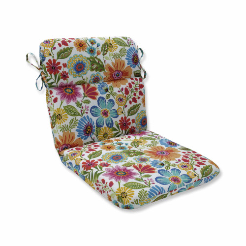 """40.5"""" Vibrantly Colored Floral Pattern Rounded Corners Chair Cushion - IMAGE 1"""