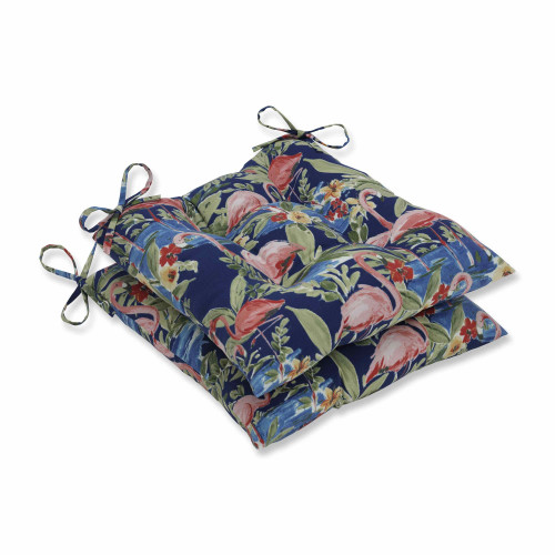 """Set of 2 Flamingoing Lagoon Blue Wrought Iron Seat Cushions 19"""" - IMAGE 1"""