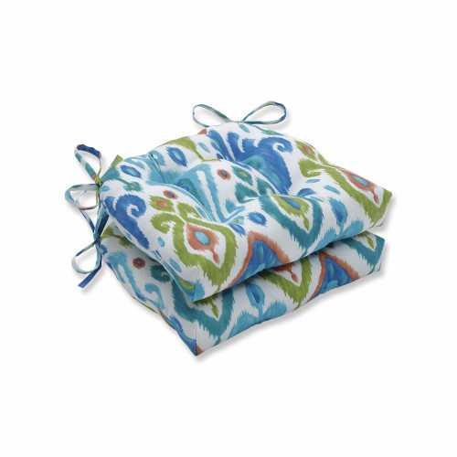 """Set of 2 Vibrantly Colored Ikat Pattern Reversible Chair Pads 16"""" - IMAGE 1"""