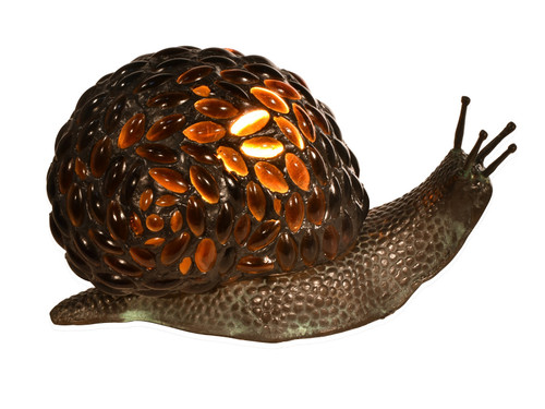 """5.75"""" Vibrantly Colored Jewel Pattern Snail Shape Accent Lamp - IMAGE 1"""