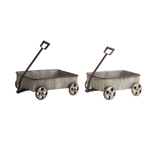 """Set of 2 Gray Country Rustic Wagons with Pulling Handle and Wheels 18.5"""" - IMAGE 1"""
