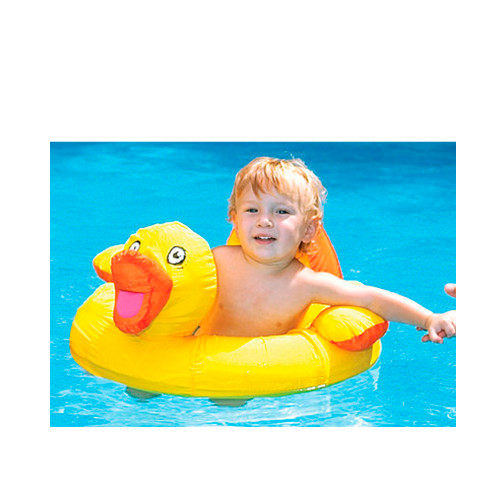 """20"""" Inflatable Yellow and Orange Duck Swimming Pool Baby Float - IMAGE 1"""