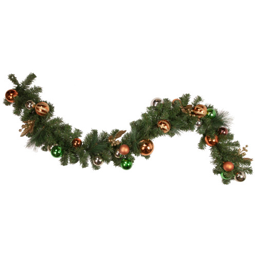 6' x 12'' Green Foliage with Ornaments Artificial Christmas Garland - Unlit - IMAGE 1