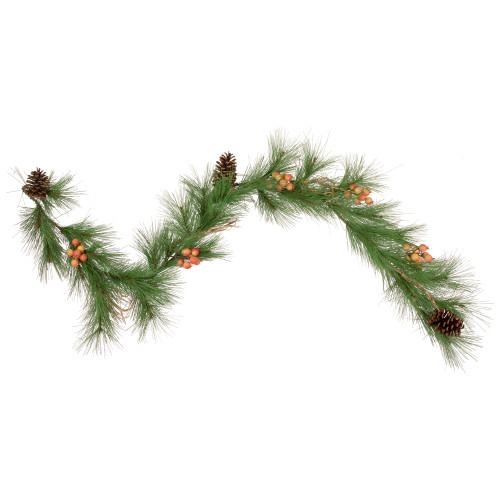 6' Green and Brown Pine Needle with Pinecones Garland - Unlit - IMAGE 1
