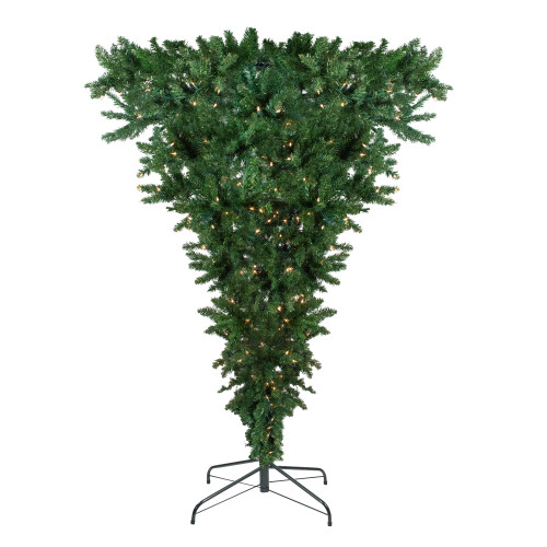 7.5' Pre-Lit Green Spruce Artificial Upside Down Christmas Tree - Clear Lights - IMAGE 1