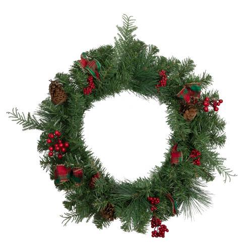 Pine Cones and Berries Artificial Christmas Wreath with Ribbon - 24-Inch, Unlit - IMAGE 1