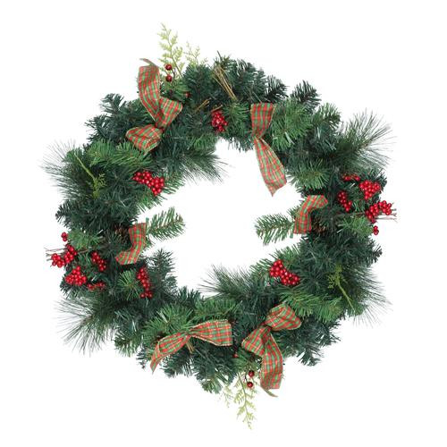 Pine Cones and Berries Artificial Christmas Wreath with Ribbon, 24-Inch, Unlit - IMAGE 1