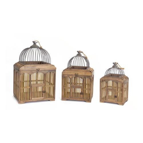 "Set of 3 Brown Wooden Decorative Birdcages 25.25"" - IMAGE 1"
