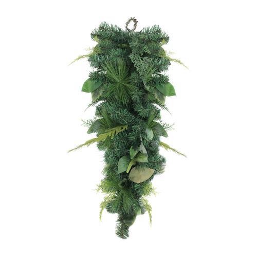 "30"" Assorted Foliage Christmas Teardrop Swag - Unlit - IMAGE 1"