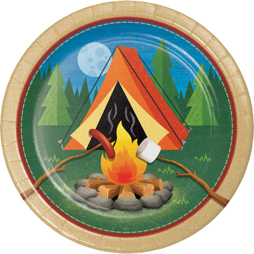 """Club Pack of 96 Brown and Dark Orange Camp Fire Themed Rounded Plate 7"""" - IMAGE 1"""