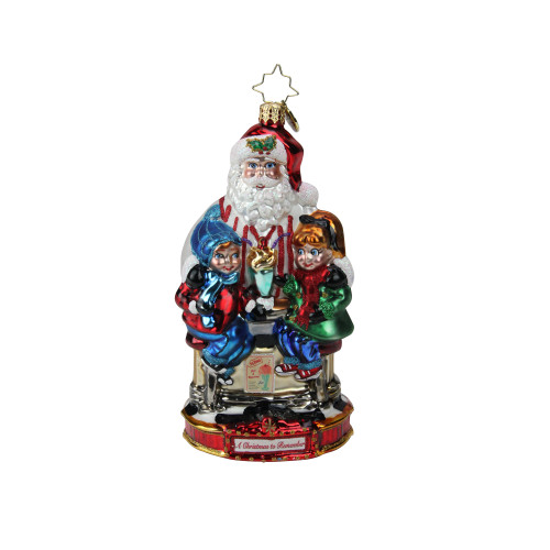 """6.75"""" Blue and Red Christopher Radko Soda Shop Surprise Christmas Ornament - IMAGE 1"""