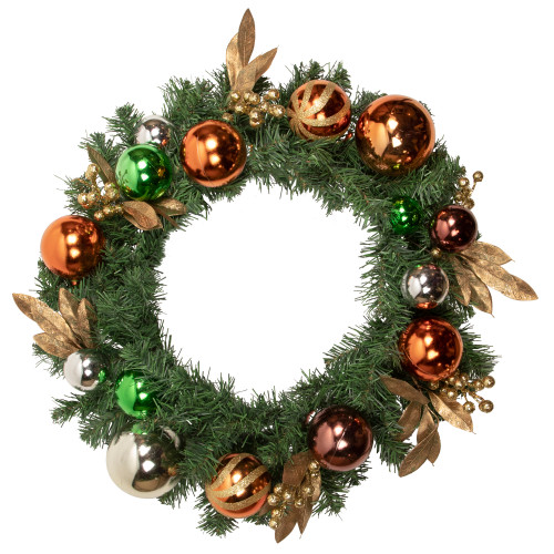 Green Foliage with Ornaments Artificial Christmas Wreath, 24-Inch, Unlit - IMAGE 1