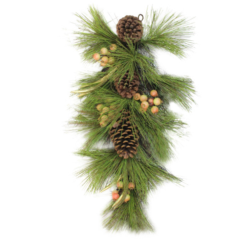 """30"""" Pine Needles with Pinecones and Golden Antlers Artificial Christmas Teardrop Swag - Unlit - IMAGE 1"""