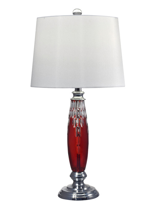 """28.5"""" Red Marble Hand Cut Crystal and Polished Chrome Base Table Lamp - IMAGE 1"""