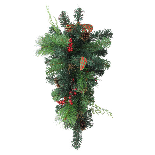 """24"""" Green Pre-Decorated Pinecone Artificial Christmas Teardrop Swag - Unlit - IMAGE 1"""
