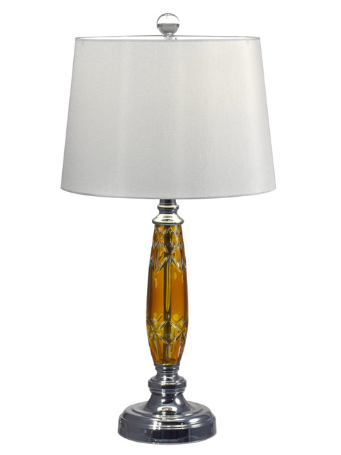 """25.5"""" Amber Hand Cut Crystal and Polished Chrome Base Table Lamp with Shade - IMAGE 1"""