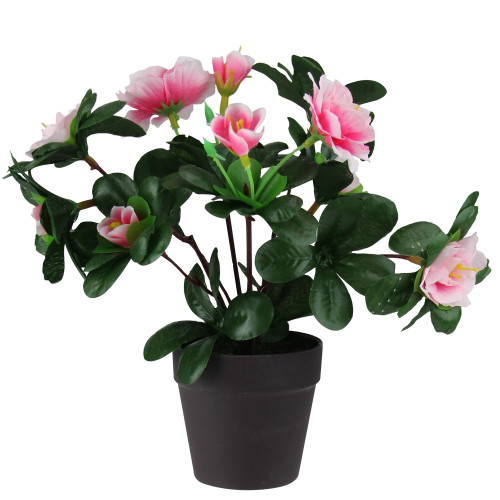 """8"""" Pink Blooming Potted Artificial Rose Plant - IMAGE 1"""