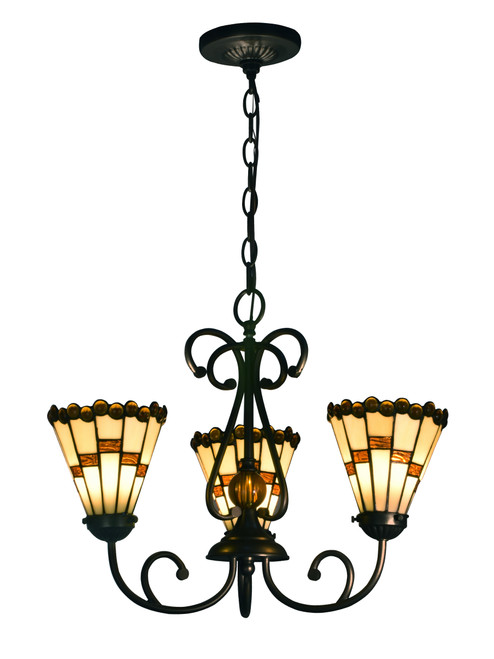 """18"""" Black and Amber Art Glass Shades 3 Light Hanging Fixtures - IMAGE 1"""