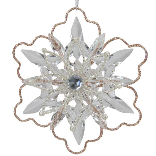 "5.25"" Gold Glitter Winter Snowflake Christmas Ornament - IMAGE 1"