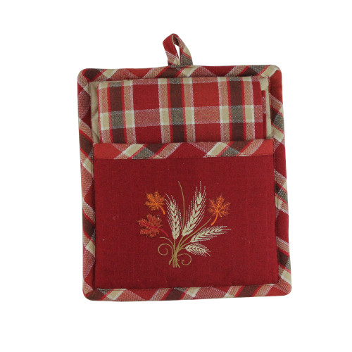 """27.5"""" Red and Brown Embroidered Wheat with Autumn Leaves Kitchen Gift Set - IMAGE 1"""