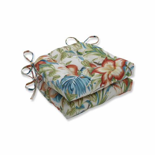 """Set of 2 Vibrantly Colored Tropical Pattern Reversible Chair Pads 16"""" - IMAGE 1"""