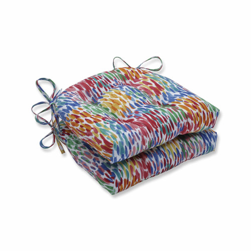 "Set of 2 Vibrantly Colored Reversible Chair Pad 16"" - IMAGE 1"