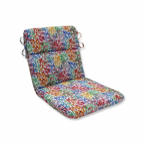 """40.5"""" Blue and Red Contemporary Chair Cushion with Rounded Corners - IMAGE 1"""