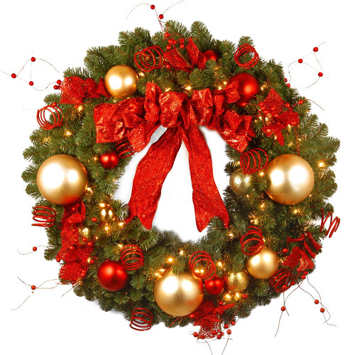 Pre-Lit Cozy Artificial Christmas Wreath - 36-inch, Clear Lights - IMAGE 1