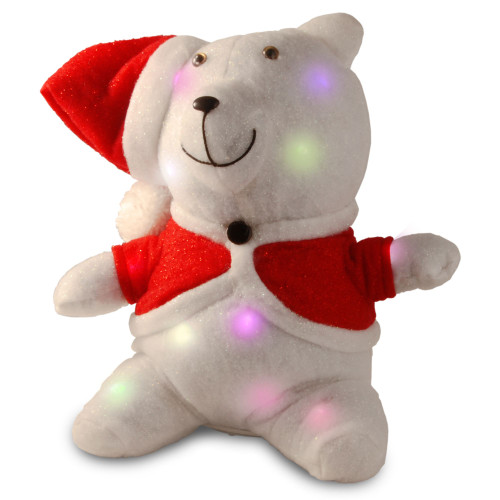 """13"""" Red Christmas Santa Bear Table Topper with Flashing LED Lights Battery Operated - IMAGE 1"""