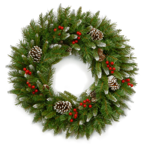 """24"""" Unlit Frosted Berry Christmas Wreath - IMAGE 1"""