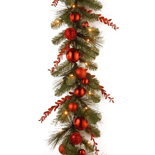"""9' x 12"""" Pre-Lit B/O LED Red Mixed Artificial Christmas Garland – Warm White Lights - IMAGE 1"""