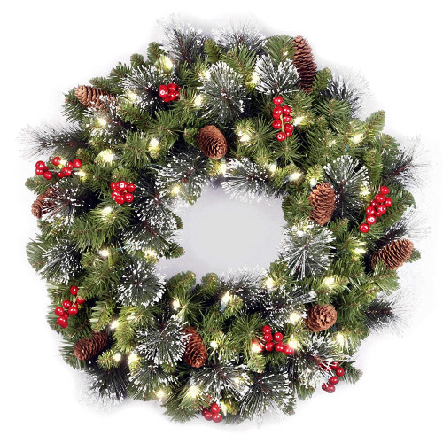 "24"" Pre-lit Silver Bristle, Pine Cones and Red Berries Battery Operated Artificial Christmas Wreath - LED Lights - IMAGE 1"