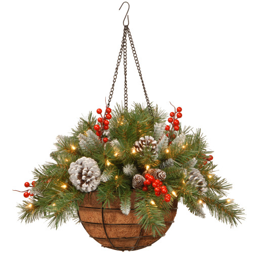 """20"""" Vibrantly Colored Hanging Basket with Warm White LED Lights - IMAGE 1"""