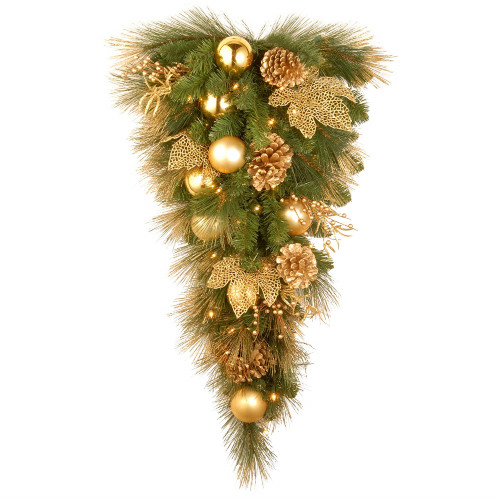 """36"""" Lighted Golden Colored and Green Christmas Tree Topper - Clear Lights - IMAGE 1"""
