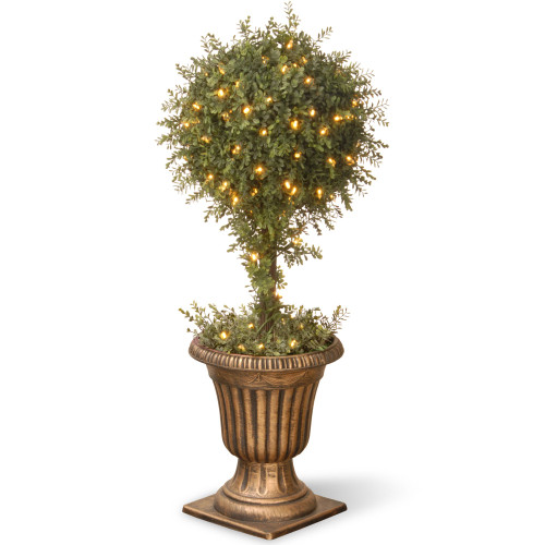 """36"""" Potted Gold Mini Tea Leaf Ball Topiary with Urn - Clear Lights - IMAGE 1"""