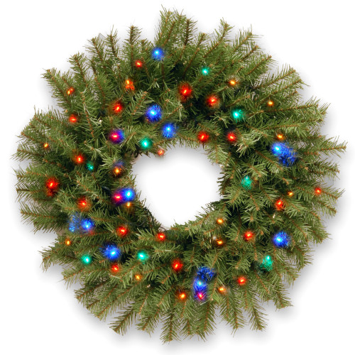 "24"" B/O Pre-Lit LED Norwood Fir Artificial Christmas Wreath – Multi-Color Lights - IMAGE 1"