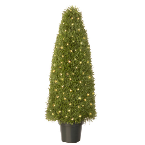 """4' x 17"""" Pre-lit Potted Upright Juniper Artificial Christmas Tree – Clear Lights - IMAGE 1"""