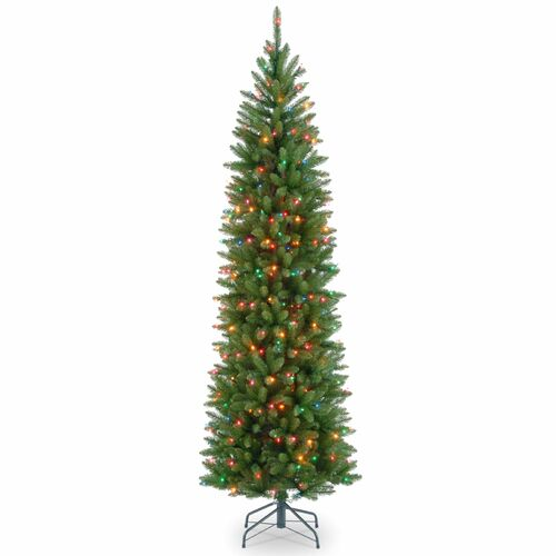 6.5' Pre-lit Kingswood Fir Pencil Artificial Christmas Tree –Multicolor Lights - IMAGE 1