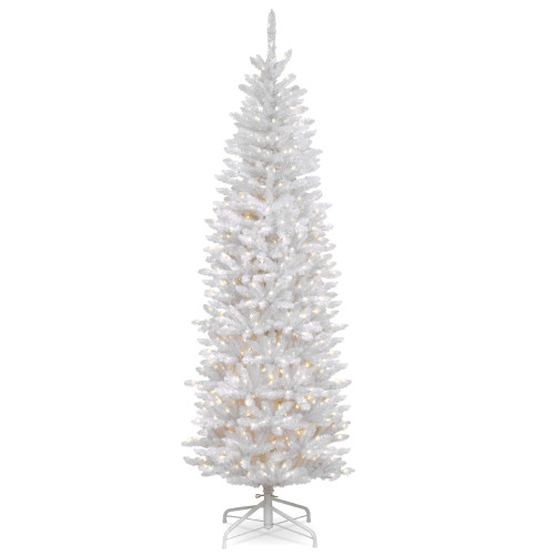 7' Pre-Lit Kingswood White Fir Pencil Artificial Christmas Tree - Clear Lights - IMAGE 1