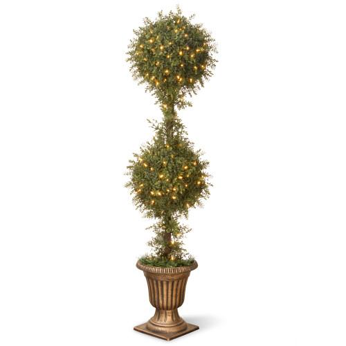 "38"" x 60"" Pre-lit Golden Mini Tea Leaf Ball Topiary Urn – Clear Lights - IMAGE 1"