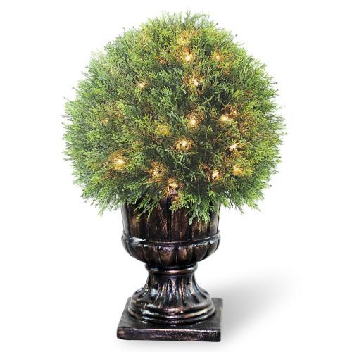 "27"" Upright Juniper Ball Topiary Tree in Urn - Prelit - IMAGE 1"