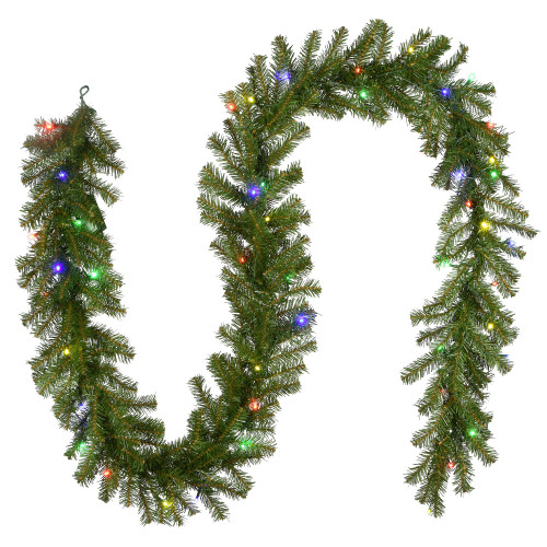 "9' x 10"" B and O Pre-Lit Norwood Fir Artificial Christmas Garland – Multi-Color LED Lights - IMAGE 1"