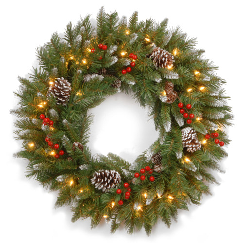 """30"""" Frosted Berry Christmas Wreath - Clear Lights - IMAGE 1"""