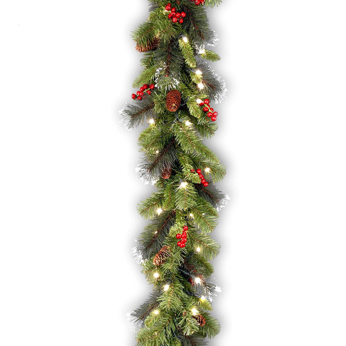 "9' x 10""  Pre-Lit Crestwood Spruce Artificial Christmas Garland - Clear Lights - IMAGE 1"