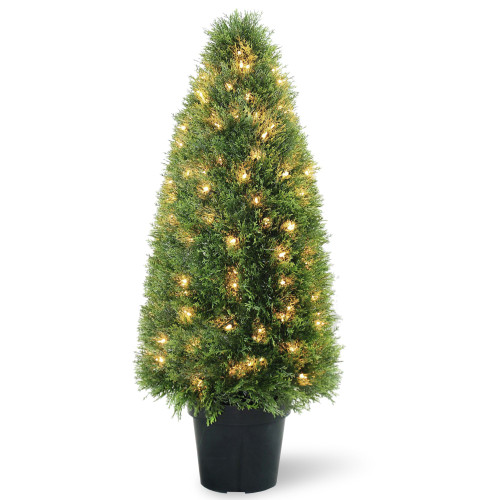 """3' x 17"""" Pre-lit Potted Upright Juniper Artificial Christmas Tree – Clear Lights - IMAGE 1"""